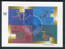 ARGENTINE 1995 - 50 ANIVERSARIO DE LAS NACIONES UNIDAS. ONU OACI FAO OIT. JALIL NR 110 HOJA BLOC FEULLIET MNH TBE -LILHU - ONU