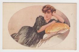 MF171 - Jolie Illustration Signée (à Identifier) - Jeune Femme Appuyée Sur Coussin - Illustratori & Fotografie