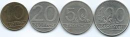Poland - 1990 - 10 (KM152.2) 20 (KM153.2) 50 (KM216) & 100 Zlotych (KM214) - Poland