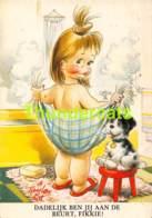 CPSM ILLUSTRATEUR TAYLOR TOT ARTIST SIGNED ENFANT CHIEN GIRL DOG ( GRAND PLI - LARGE CREASE ) - Taylor