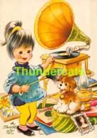 CPSM ILLUSTRATEUR TAYLOR TOT ARTIST SIGNED ENFANT CHIEN GIRL DOG PHONOGRAPH GRAMOPHONE - Taylor