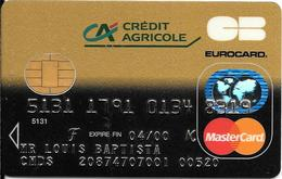 -CARTE+-PUCE-MAGNETIQUE-CB-CREDIT CREDIT AGRICOLE -MASTERCARD-04/00-OBERTHUR/09/97-TBE-RARE - Cartes Bancaires Jetables
