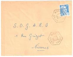 MONTCHEVREL Orne Lettre 15 F Gandon Bleu Yv 886 Ob 7 3 1955 Agence Postale Lautier F7 - Marcophilie (Lettres)