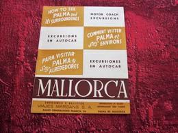 1952 MALLORCA ESPANA ILES BALÉARES PLANO TURISTICO  GUÍA PANTALLA TURÍSTICA-EXCURSIONES AUTOCAR -PROGRAMA PALMA - Folletos Turísticos