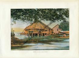 Document (1880) : Iles Sous-le-Vent, Raiatea, Une Case Lacustre, Photographie Aquarellée (Aquarelle), Souvenir De Voyage - Vieux Papiers