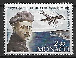 MONACO    -   Poste Aérienne   -    1963 .   Y&T N° 81 * . Roland Garros  /  Avion - Poste Aérienne