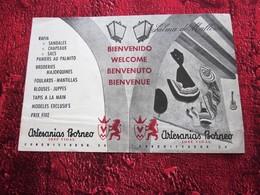 1950 PALMA DE MALLORCA PUBLICIDAD PLANES DE ARTESANIAS BORNEO PROGRAMA DE GUÍA TURÍSTICA DEPLIANTE ESPAÑA - Publicidad