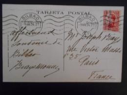 Espagne Carte De Bilbao 1934 Pour Paris - 1931-50 Storia Postale