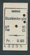 JZ1122 Belgique SNCV 2me Cl Knocke - Blankenberghe 27-7-13 Billet Ticket Fahrkarte - Chemins De Fer