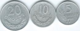 Poland - 5 (1961 - KMYA46) 10 (1963 - KMYAA47) & 20 Groszy (1966 - KMYA47) - Poland