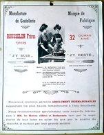 63 THIERS  COUTEAUX COUTELLERIE ROUSSELON FRERES DUMAS AINE PUBLICITE CARTONNEE VERS 1900 - Unclassified