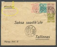 Estland Estonia 1919 VILJANDI Fellin Provisional Line Cancel Auf Dem Brief An Deutsche Gesandte In Reval + Michel 1 - 4 - Estland