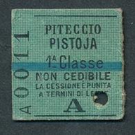 JZ1114 Italia A 1 Classe Piteccio - Pistoja 16.10.05 1905 Billet Ticket Fahrkarte - Europe