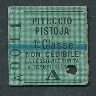 JZ1114 Italia A 1 Classe Piteccio - Pistoja 16.10.05 1905 Billet Ticket Fahrkarte - Spoorwegen