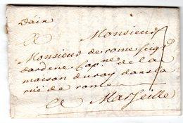 """Lettre Marque Manuscrite """" D'Aix """" Envoyée à  Marseille 1732 - Marcofilie (Brieven)"""