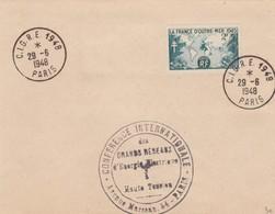 FRANCE - LETTRE  CACHET COMMÉMORATIF C.I.G.R.E. CONFERENCE INTERNATIONALE GRANDS RESEAUX ENERGIE 29.6.1948 - Yv N°741 /1 - Marcofilie (Brieven)