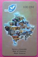 Kosovo PREPAID PHONE CARD 100 DM Operator VALA900. Serial # 33... *Map Of Kosovo* - Kosovo