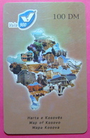 Kosovo PREPAID PHONE CARD 100 DM Operator VALA900. Serial # 90... *Map Of Kosovo* - Kosovo