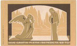 ILLUSTRATEUR ABBAYE DE PRADINES N° 14 AVE GRATIA PLENA BENEDICTA ES TU IMAGE PIEUSE RELIGIEUSE HOLY CARD SANTINI PRENTJE - Santini