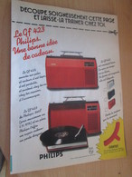 SPI2019 Page De SPIROU De 75/76 : PUBLICITE POUR ELECTROPHONE PHILIPS PORTABLE GF423 - Objets Dérivés