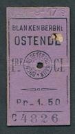 JZ1119 BELGIUM SNCV 1st Cl Blankenberghe - Ostende N-1-9-17s Billet Ticket Fahrkarte - Spoorwegen