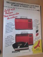 SPI2019 Page De SPIROU De 75/76 : PUBLICITE POUR ELECTROPHONE PHILIPS PORTABLE GF423 - Accessoires, Pochettes & Cartons