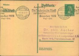 """1929, DRESDEN Ausstellung """"Die Technische Stadt"""" 2 Verschiedene Sonderstempel - Deutschland"""