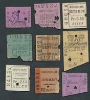 JZ1123 BELGIUM 9 ½ Tickets Selection Of Stations Billet Ticket Fahrkarte - Spoorwegen