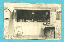 """Cpa  Photo  Sainte Adresse (76) """" Baraque """" Sur Le Galet """" Aux Fins Gourmets""""  Galets Du Havre (divers Accrocs ,état) - Sainte Adresse"""