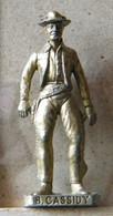 MONDOSORPRESA, (SLDN°60) KINDER FERRERO, SOLDATINI IN METALLO FAMOSI COWBOY SERIE 2 85/93 B. CASSIDY  OTTONE - Figurines En Métal