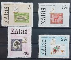 DE22 - Zaire 1986 MNH Set - Centenary Of Post - Stamp On Stamp, Football Railway Train - Zaire