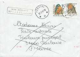 405/29 - AGENCE HERSTAL 11 - TP Buzin Cachets à Etoiles Sur Lettre 1987 Vers TOULOUSE - Non Réclamé Retour Envoyeur - Poststempels/ Marcofilie