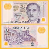 Singapore 2 Dollars P-46j 2016 (one Hollow Star On Back) UNC Polymer Banknote - Singapur
