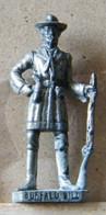 MONDOSORPRESA, (SLDN°63) KINDER FERRERO, SOLDATINI IN METALLO FAMOSI COWBOY SERIE 2 85/93 BUFFALO BILL ARGENTO USATO - Figurines En Métal