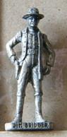 MONDOSORPRESA, (SLDN°63) KINDER FERRERO, SOLDATINI IN METALLO FAMOSI COWBOY SERIE 2 85/93 JIM BRIDGER ARGENTO USATO - Figurines En Métal