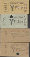 QX1063 Paris RATP Metro Tarif Y 4 Billets Tickets Fahrkarte - Metro