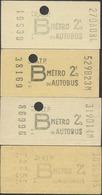 QX1066 Paris RATP Metro Tarif B 4 Billets Tickets Fahrkarte - Metro
