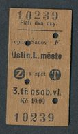 QY4429 CZECHOSLOVAKIA 3rd Teplice Sanov - Usti N L Mesto 1929 Teplitz-SchonauAussig Stadt Billet Ticket Fahrkarte - Spoorwegen