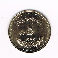 //  IRAN  5 RIALS  1376 ( 1997 ) - Iran