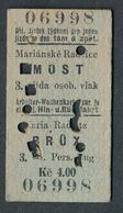 QY4430 CZECHOSLOVAKIA 3rd Cl Marianske Radcice - Most 1925 Billet Ticket Fahrkarte - Europe