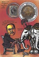 CPM Timbre Monnaie Jihel Tirage Limité En 30 Exemplaires Numérotés Signés SIAM éléphant Miroir Aux Alouettes - Monete (rappresentazioni)