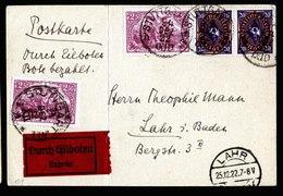 A6257) DR Infla Express-Karte Stuttgart 24.12.22 N. Lahr M. Mi.115 Ua. - Briefe U. Dokumente