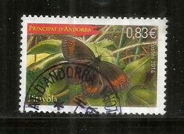 Le Papillon Pitavola (papillon Moiré),  Timbre Oblitéré 1 ère Qualité, Année 2014 - Used Stamps