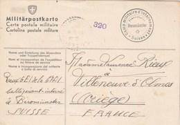 Cachet Camp Militaire D'Internement Suisse BEROMÜNSTER Sur Carte Postale Pour Villeneuve D'Olmes Ariège 9/10/1940 - WW II