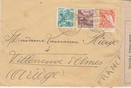 Cachet Censure Sur Lettre RICHENTHAL Suisse 19/9/1940 Pour Villeneuve D'Olmes Ariège - Marcophilie (Lettres)