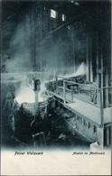 ! Alte Ansichtskarte  Peine, Peiner Walzwerk, Stahl Montanindustrie, Acierie, Steel Industry, Abstich Im Martinwerk - Peine