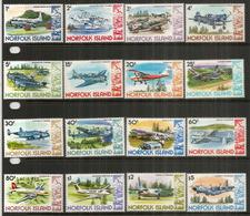 Histoire De L'Aviation (C-130,DC-4,DC-3,Cessna,Kittyhawk,Gypsy MothGrumman,etc)  16 Timbres Neufs ** ILE NORFOLK - Ile Norfolk