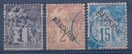 REUNION - LOT 17 - 18 - 22 ALPHEE DUBOIS OBL USED COTE 17 EUR - Reunion Island (1852-1975)