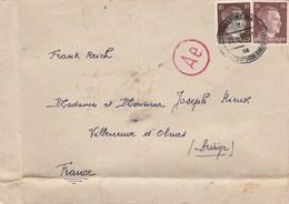 Cachet Censure Sur Lettre Frankfurt Allemagne 25/8/1943 Villeneuve D'Olmes Ariège - Guerre De 1939-45