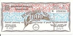 BOSNIE HERZEGOVINE 1000 DINARA 1992 VF+ MILITARY CHECK - Bosnia Erzegovina